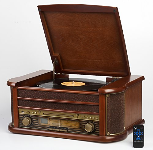 Nostalgie Holz Musikanlage | Kompaktanlage | Retro Stereoanlage | Plattenspieler | Radio | CD MP3 Player USB | Fernbedienung | MP3-Encoding: Aufnahmefunktion AUX IN | Lautsprecher | hochwertiges Holz - Mp3 Cd Plattenspieler Radio