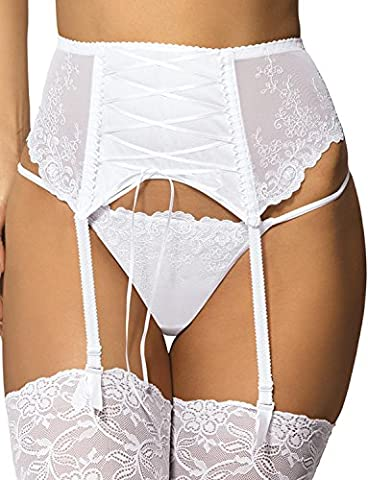 Gorteks Yvette/PPW Women's Garter Belt Smooth Embroidered Mesh (Matching Items Available) - Made In EU, White,12