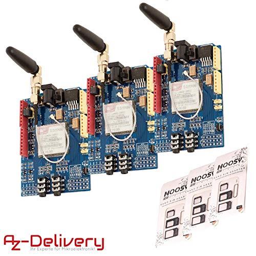 AZDelivery 3 x SIM900 Shield GSM GPRS para Arduino con eBook incluido