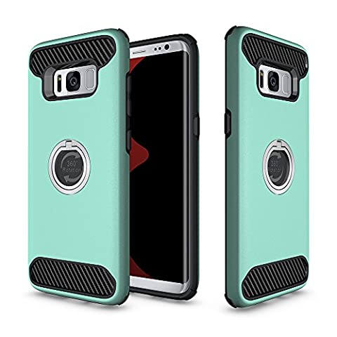 OnPrim 2 in 1 Hard PC And Flexible Silicone Rubber Shock Proof Dual Protective Cover Case Built-in Phone Ring Kickstand For Samsung Galaxy S8 Plus 6.2 Inth