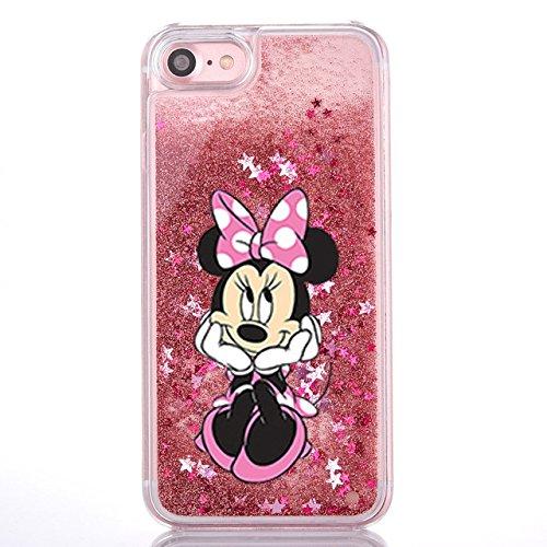 Phone Kandy® Duro transparente caja del teléfono de Shell del brillo de la chispa Stars con la historieta (iPhone 5 5s, Minnie)