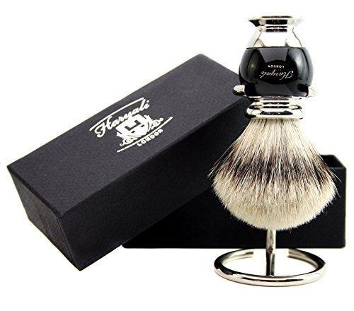 Blaireau de rasage moderne silvertip en poils de blaireau de grande qualité avec support de brosse Noir/argenté