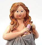 Badezimmer Figur mit Handtuch und Kamm stehend 14 cm für Tisch Kommode Schrank Mädchen Rubensfrau Dicke Frau