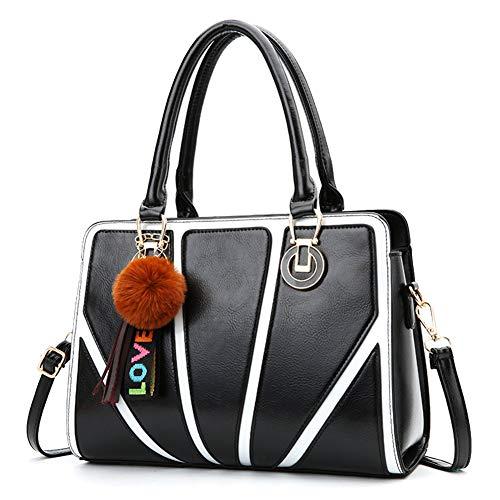 CJWLOY Handtaschen Damenmode Umhängetaschen Schultertasche PU Leder große Kapazitäts Elegante Dame Top Griff Taschen Tote Geldbeutel Kurier,Black -