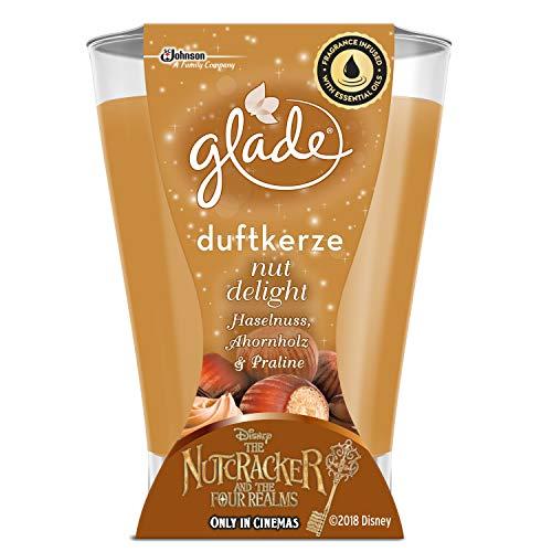 Glade Langanhaltende Duftkerze Nut Delight (Haselnuss, Ahornholz & Praline), 224g - Beige Praline