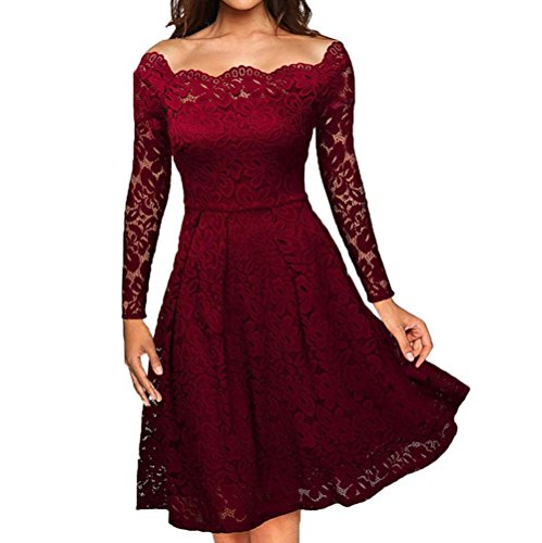 Btruely Kleid Damen Elegant Formal Partykleid Slim Fit Cocktailkleid Langarm Abenkleid Vintage Spitzenkleid Minikleid Hohe Taille Kleid (M, Wein)