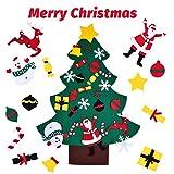 Árbol de Navidad de Fieltro para Niños DIY Árbol de Navidad con 24Pcs Ornamentos Desmontables para Decorar la Pared y la Puerta Decoración Bricolaje Colgantes de Adornos Navideños Niños