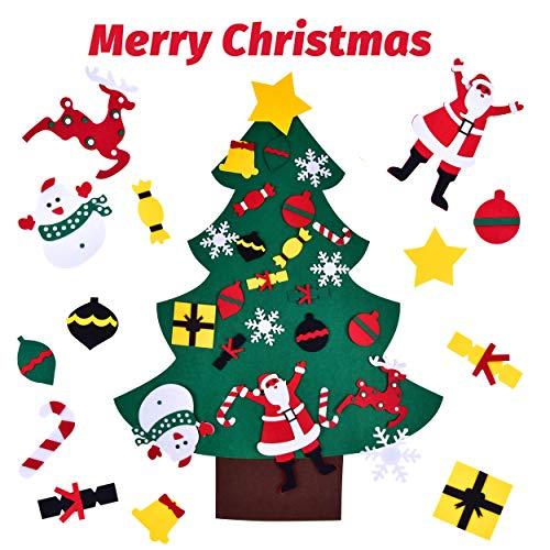 Rooya baby albero di natale in feltro fai-da-te per bambini regali di natale, 3,5 ft della feltolta di diy 24 pezzi decorazioni natalizie per porta a parete di capodanno