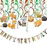 Décorations de Fêtes de Jungle Forêt et Animaux, Comius 30 Pieces Animaux Anniversaire décoration Guirlandes Suspension de Tourbillon, Joyeux Anniversaire Bannière pour Enfants Fille Garçon