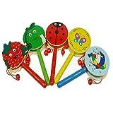 Aiming Schütteln Baby Rattle Karikatur-hölzerne Handglocke Drum Kids Musikinstrument-Spielzeug