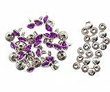 Weddecor 10x 8mm, Farbe: ab, Acryl mit Strass mit Zubehör für Rivet Nieten, Leder, zum Basteln, Designer-Gürtel, Kleidung, Taschen, Hunde-Halsbänder, metall, Violett, 50