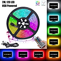 LED Strip Light 2M RGB Decorative Lighting TV Back Lights Kit Cuttable with 44 Key Remote Control USB, Multicolor