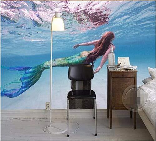erte Seide Fototapete Moderne Kunst Hd Meerjungfrau Klar Meer Schwimmen Wohnzimmer Hintergrund 3D Große Wandbild Tapete-140cmx100cm ()
