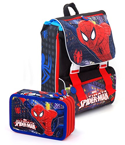 SPIDERMAN - PACK ZAINO ESTENSIBILE + ASTUCCIO TRIPLE 2017-2018