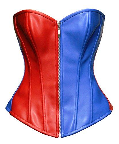 Bslingerie® Kunstleder Leder-Optik Reißverschluss Bustier Korsett Corsage (XL, Blau-Rot)