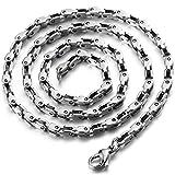 COOLSTEELANDBEYOND 3.3MM Breit 54 CM Lang Edelstahl Gliederkette Herren-Halskette Hip Hop Collier Silber Farbe mit Karabinerverschluss