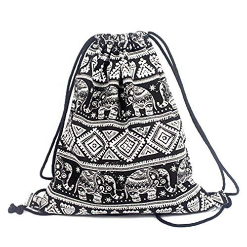 Leefrei - Bolso mochila para mujer negro Elefant Schwarz Beutel