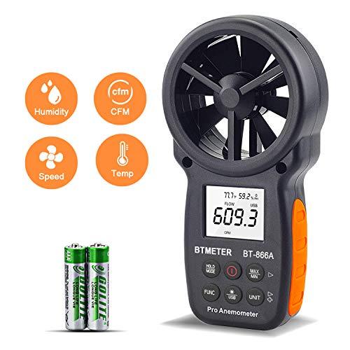 Medidor CFM Portátil con Anemómetro Digital con Conexión USB:el Medidor de Velocidad del Viento Mide...