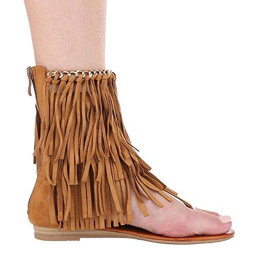 Damen Schuhe, LL79, SANDALEN ZEHENTRENNER MIT FRANSEN Camel