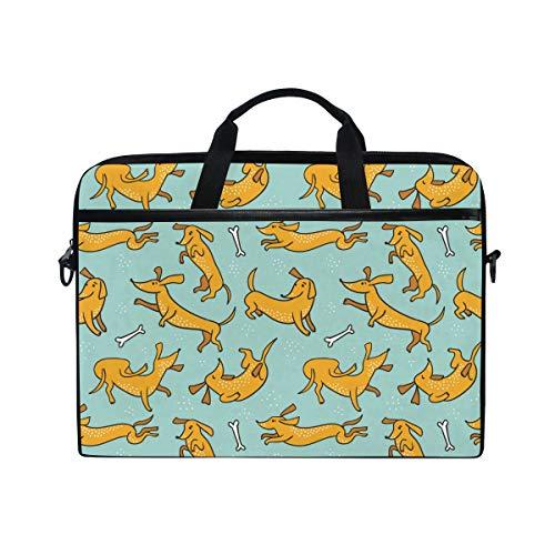 Ahomy 38,1-15,4 Zoll Laptoptasche, Dackel Hund Canvas Stoff Laptop Tasche Bussiness Handtasche mit Schultergurt für Damen und Herren