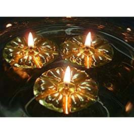 Magical Floating Water Candles 50 Reusable Gold Floats and 50 Long Burning Wicks. Wedding Table Centrepieces by Aromaglow