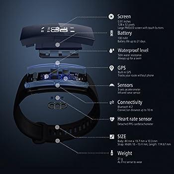 Huawei Band 2 Pro Fitness-tracker (Gps, Bluetooth, Herzfrequenzmessung, Wasserdicht Bis 5 Atm) Schwarz 8