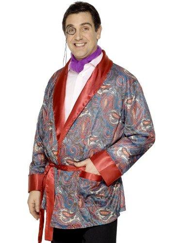 Mens Paisley Smoking Jacket Hugh Hefner Playboy Robe Outfit Fancy Dress Costume