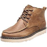 Men 's Casual botas de moda zapatos de cuero de los hombres de moda los zapatos retro,Amarillo,Cuarenta y uno