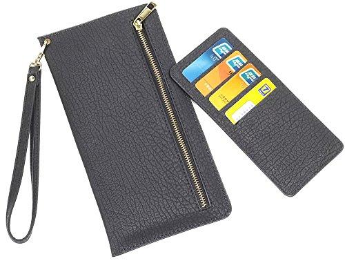 Preisvergleich Produktbild Neu Samsung Galaxy S6 Edge Plus Hülle Leder [Schwarz] ISENPENK Wallet, Muster Multifunktions Tasche Handyhülle Lederhülle 3-in-1 Bookstyle Geldbörse, Schutzhülle Tasche Credit Card Slots