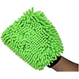 SOBBY Microfibre Cleaning Gloves (Single Sided, Extra Large, Premium Quality Mitt Glove, Green)
