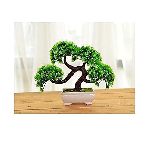 1aussehendes Kiefer ahmen Bonsai Simulation Dekorative künstliche Blumen Fake grün Topf Pflanzen Ornaments Home Decor