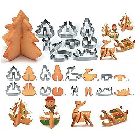 Cosanter 8 Stück Weihnachten Ausstechform Stempel Modellierwerkzeug Fondant Ausstecher DIY (8tlg/Set)