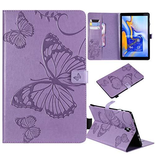 A 10.5 Hülle,Schmetterlings Prägung PU Leder Abdeckung Stand Flip Schutzhülle Hüll mit Aufwachen/Schlaf Funktion für Samsung Galaxy Tab A SM-T590/T595 (10,5 Zoll) 2018 (lila) ()
