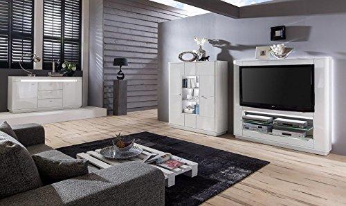 Wohnwand 'Quadra 3' Hochglanz lackiert Weiß Vormontiert Mediawand - 2
