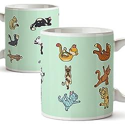 Tazas de desayuno original para regalar adictos al yoga - Regalo para amantes de la meditación y los gatos - Gatitos haciendo poses de yoga - Cerámica 350 ml