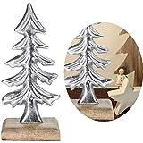LS-LebenStil XL Eisen Tannenbaum 23cm Sockel Silber Weihnachtsbaum Holz-Baum