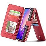 ZDCASE Funda Galaxy S10,Premium 2 en 1 Desmontable Funda Plegable de PU Cuero con Gran Capacidad Ranura Tarjetas Cartera de Cremallera Cover para Samsung Galaxy S10 6.1' Rojo