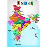 India Map With Monuments Classroom Home Wall Room Décor A3 11.7 By 16.5 Inches, Ideal Gifts For Children/ Kids, From Ekdali.com. Political Map Of India With State Names And Capitals And Most Important Monument/ Feature Of That State