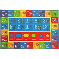 KC CUBS Playtime Collection ABC, Numbers and Shapes Educational Learning Area Rug Carpet For Kids and Children Bedroom and Playroom