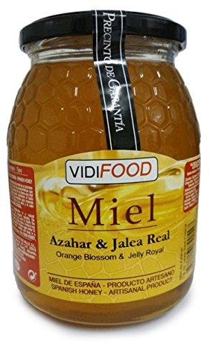 Natürlicher Orangenblüte Roher Honig mit Gelée Royale - 1kg - In Spanien gesammelt - Anregend und sehr nahrhaft - Hausgemacht & 100% rein - Intensives Blumenaroma und starker, süßer Geschmack -