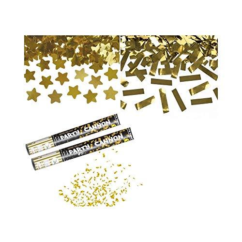 TrAdE Shop Traesio 2 Tubi Tubo SPARA CORIANDOLI Gold Cannone 40CM Festa Party PROMESSA Matrimonio