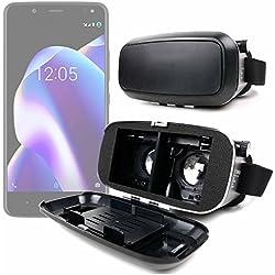 DURAGADGET Gafas de Realidad Virtual VR ajustables en color negro para Smarphones Smartphone BQ Aquaris U2 (y Lite) | Aquaris U2 | Aquaris V (y Plus) + gamuza limpiadora.