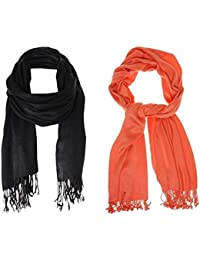 Men's And Women's Solid Cotton Scarf, Scarves, Stole In Orange & Black Colour For All Seasons (0.5m By 2m) Pack...