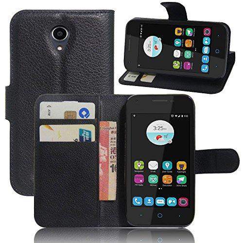 Tasche für ZTE Blade L110 Hülle, Ycloud PU Ledertasche Flip Cover Wallet Case Handyhülle mit Stand Function Credit Card Slots Bookstyle Purse Design schwarz