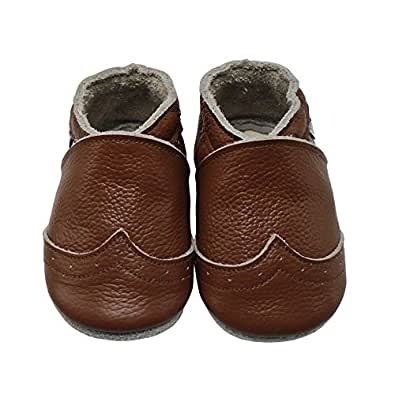 Mejale Baby Shoes Soft Sole Leather Crawling Moccasins
