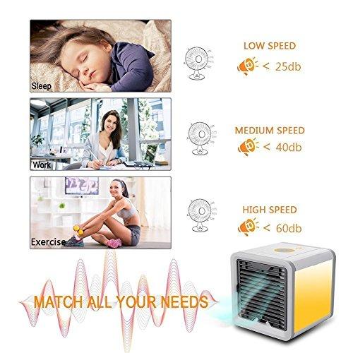 Aire Acondicionado Móvil Enfriador Ventilador USB Climatizador Portátil Mini 3 en 1 Espacio Personal Enfriador de Aire Humidificador Purificador Ventilador Escritorio con 3 Velocidades y 7 Colores LED Luz de la Noche