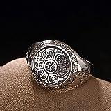 Kaige Ring S925 Sterlingsilber Retro-Thai Gesicht sechs Wort Mantra Lotus Persönlichkeit Männer und Damen Ring Silber