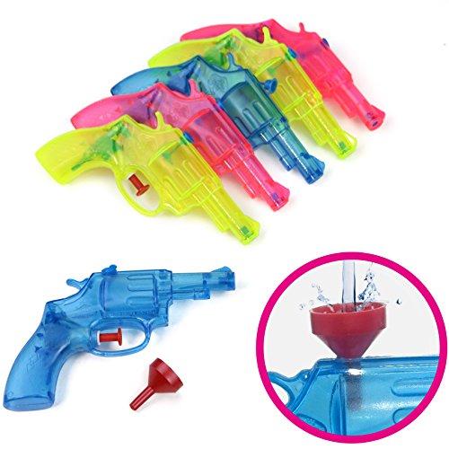 Wasserpistolen 6er Set in drei transparenten Farben - der feucht, fröhliche Partyspaß für Groß und Klein!!! (6er Packung + Einfüllhilfe)