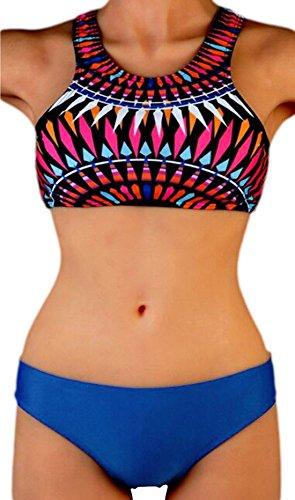 erdbeerloft - Damen High Neck Bikini mit abstraktem mehrfarbigen Muster, L, Blau (High Rüschen Neck)