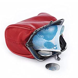 Christmas Gift - Genuine Leather Small Coin Purse for Women Ladies Girls with Clasp Closure